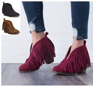 Shoes - ️5Fringe Booties Ankle Boots Block Heel